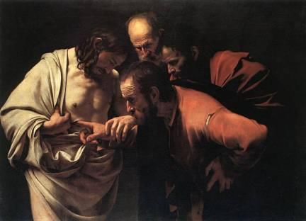 SantoTomásintroducelamanoenelcostadodeJesús_Caravaggio(1601)
